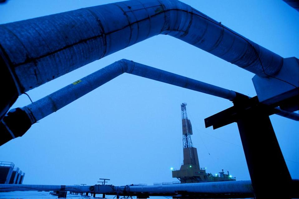 """<span class=""""element-image__caption"""">An oil well drilling rig and pipelines in a BP oilfield near Prudhoe Bay, on the edge of the Arctic national wildlife refuge.</span> <span class=""""element-image__credit"""">Photograph: WorldFoto/Alamy</span>"""