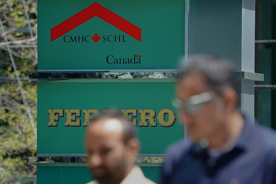 The Canada Housing Mortgage Corporation (CMHC) logo is pictured in Toronto, Ontario, Canada, July 17, 2018. Picture taken July 17, 2018. REUTERS/Carlo Allegri
