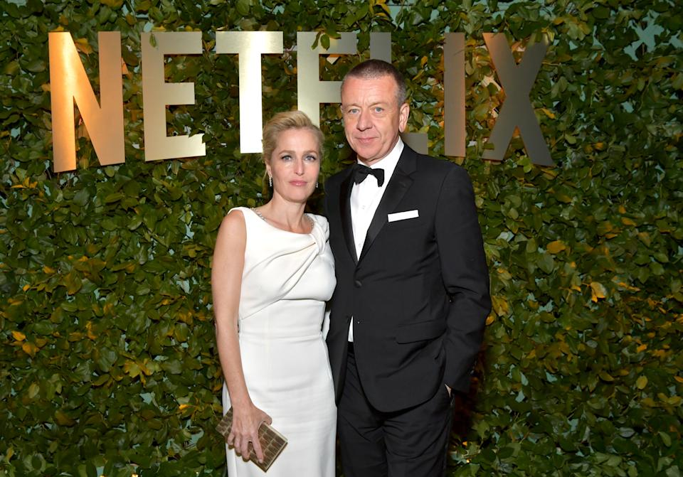 LOS ANGELES, CALIFORNIA - JANUARY 05: (L-R) Gillian Anderson and Peter Morgan attend the Netflix 2020 Golden Globes After Party on January 05, 2020 in Los Angeles, California. (Photo by Emma McIntyre/Getty Images for Netflix)