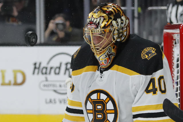 Boston Bruins goaltender Tuukka Rask blocks a shot by the Vegas Golden Knights during the second period of an NHL hockey game Tuesday, Oct. 8, 2019, in Las Vegas. (AP Photo/John Locher)