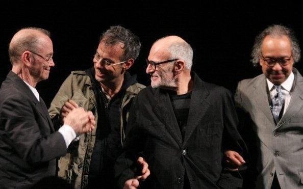 Curtain call at the 2011 Broadway revival of The Normal Heart, l-r, director Joel Grey, actor Joe Mantello, Kramer and producer George C Wolfe - Janette Pellegrini/WireImage)