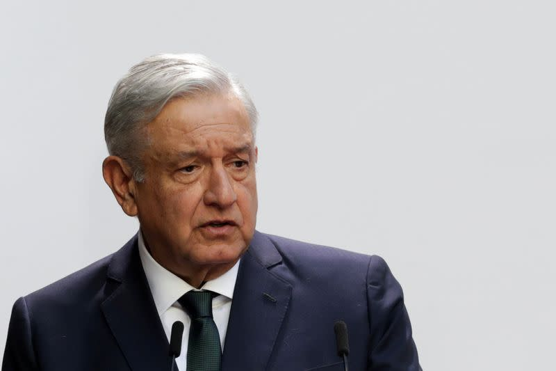 FILE PHOTO: Mexico's President Andres Manuel Lopez Obrador delivers his second state of the union address at National Palace in Mexico City