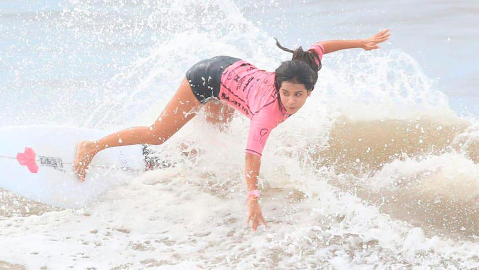 Katherine Diaz Hernandez, pictured here in action in the surf.