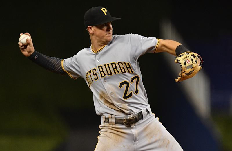 MIAMI, FL - JUNE 14: Kevin Newman #27 of the Pittsburgh Pirates in action against the Miami Marlins at Marlins Park on June 14, 2019 in Miami, Florida. (Photo by Mark Brown/Getty Images)