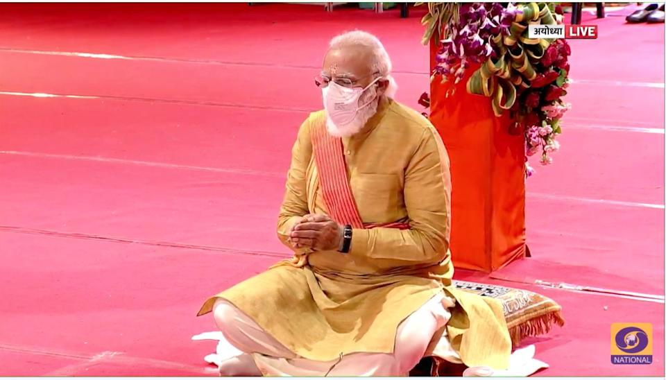 Prime Minister Narendra Modi praying at the inauguration of the Ram Temple in Ayodhya on 5 August, 2020. (Photo: Doordarshan screenshot. )