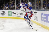 New York Rangers goaltender Alexandar Georgiev (40) passes to a teammate during the second period of an NHL hockey game against the New York Islanders Thursday, Jan. 16, 2020, in Uniondale, N.Y. (AP Photo/Frank Franklin II)