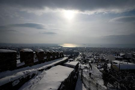 A view from the Byzantine-era Heptapyrgion castle following a snowfall in Thessaloniki, Greece, January 5, 2019. REUTERS/Alexandros Avramidis