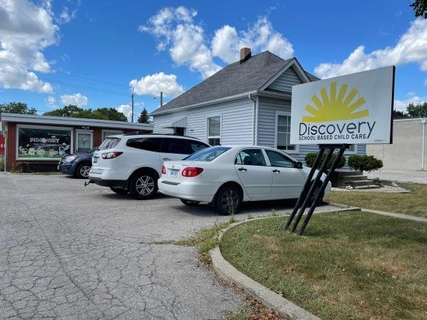 The main office of Discovery School Based Child Care is located in Kingsville. The daycare's location at Kingsville Public School has been ordered by public health to close due to a large COVID-19 outbreak. (Amy Dodge/CBC - image credit)