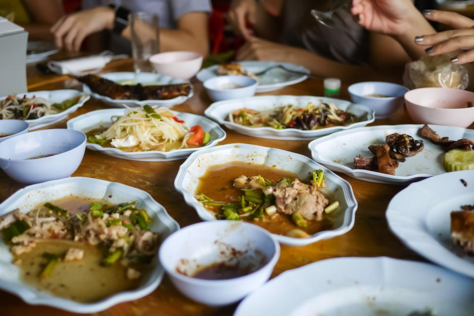 Leftover food after meal at restaurant. Food waste is a huge and growing environmental, financial, and social problem globally. Consumers need more Social Responsibility and Social Sustainability mind