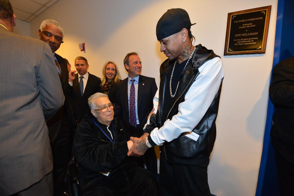 PHILADELPHIA, PA - OCTOBER 30: Philadelphia 76ers legend Allen Iverson greets long time 76ers equipment manager Jeff Millman as Millman was honored prior to the 76ers hosting the Miami Heat at the Wells Fargo Center on October 30, 2013 in Philadelphia, Pennsylvania. (Photo by Jesse D. Garrabrant/NBAE via Getty Images)