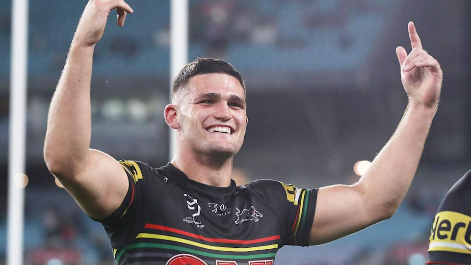 Pictured here celebrating, Nathan Cleary is the favourite to win the 2020 Dally M medal.