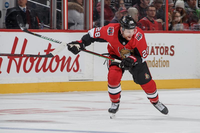 Connor Brown #28 of the Ottawa Senators skates against the Philadelphia Flyers