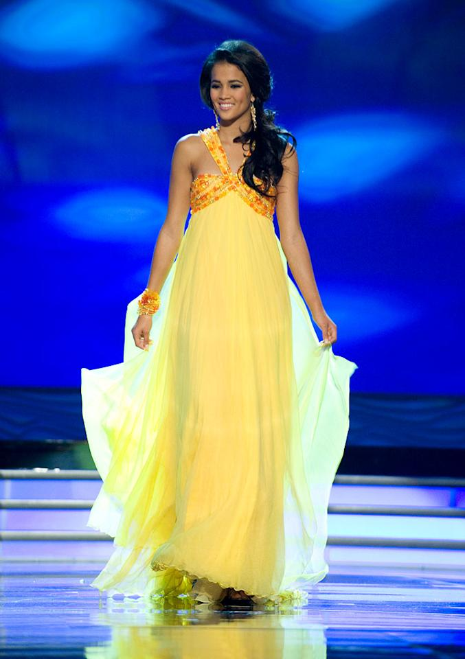 Whitney Toyloy, Miss Switzerland 2009, competes as a top 10 finalist in an evening gown of her choice during the 58th annual Miss Universe competition from Atlantis, Paradise Island, Bahamas.