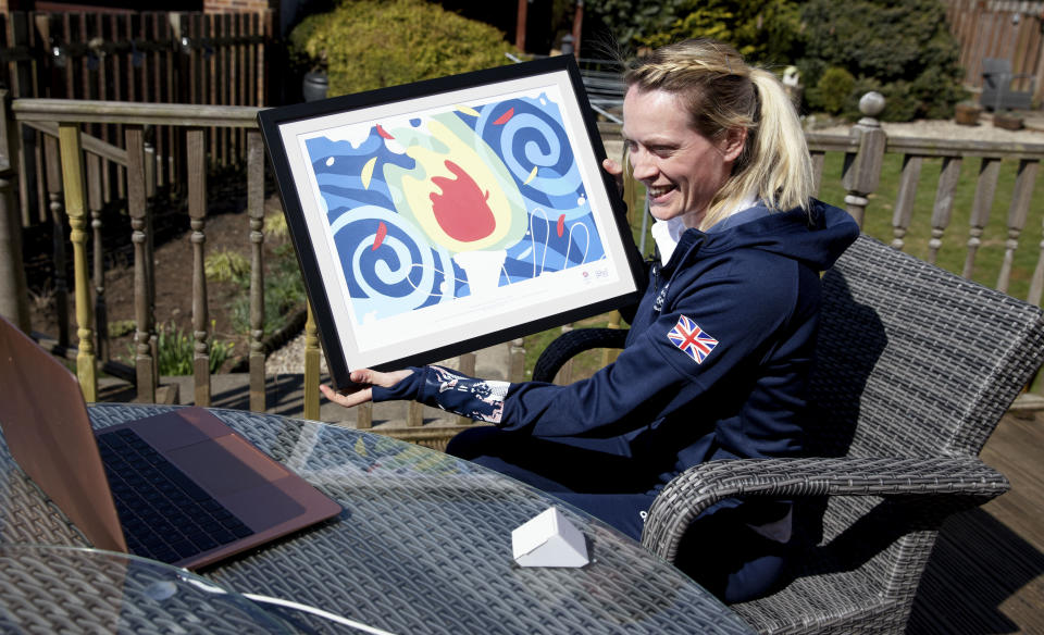 Hurdling star Eilidh Doyle was thrilled to be presented with McIntosh's specially-commissioned piece of artwork