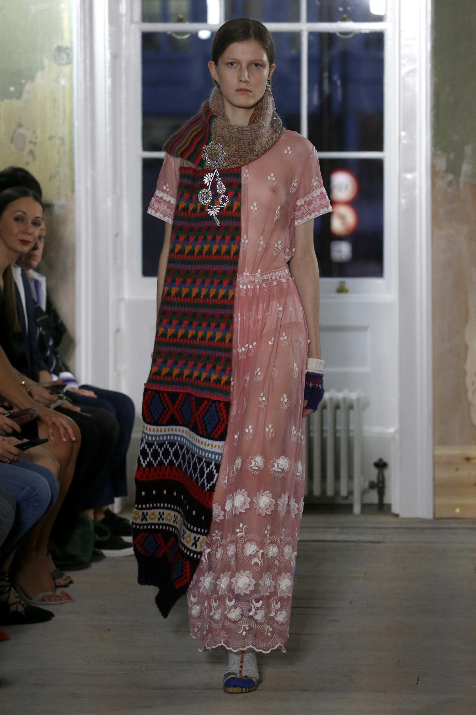 <p>A sheer pink gown with lovely embellishments (add the oversized scarf if you dare). </p>