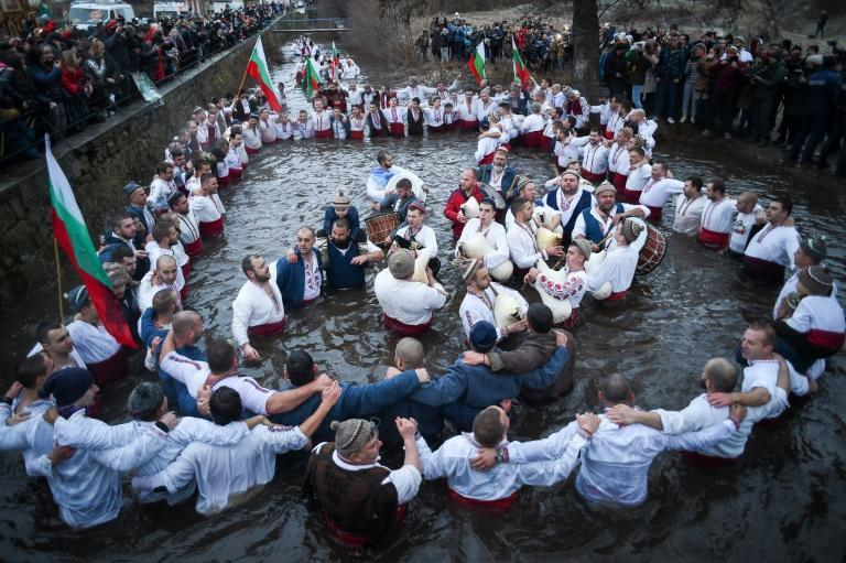 They performed traditional 'Horo' dance in the icy winter waters