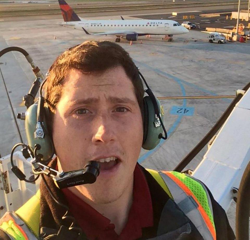 """UNAUTHORIZED DEPARTURE: Russell took a job as a ground-service agent with Horizon Air in 2015, which afforded him free flights home to Alaska. """"I lift a lot of bags — soooooo many bags,"""" he said. - Credit: Richard Russell/Wordpress.com"""
