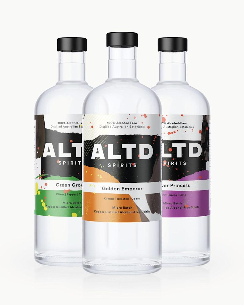 Pictured: Three bottles of alcohol-free spirits from ALTF. Image: supplied