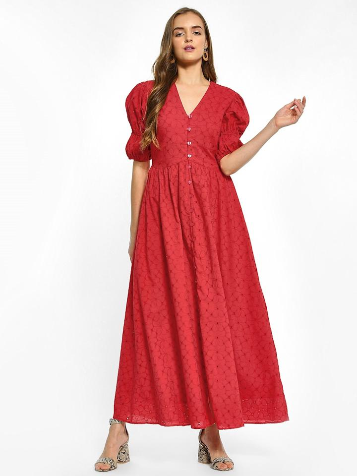 "<a href=""https://fave.co/2UVxd1Q"">BUY HERE</a> Broderie detail maxi dress, for Rs. 1,699 at KOOVS"