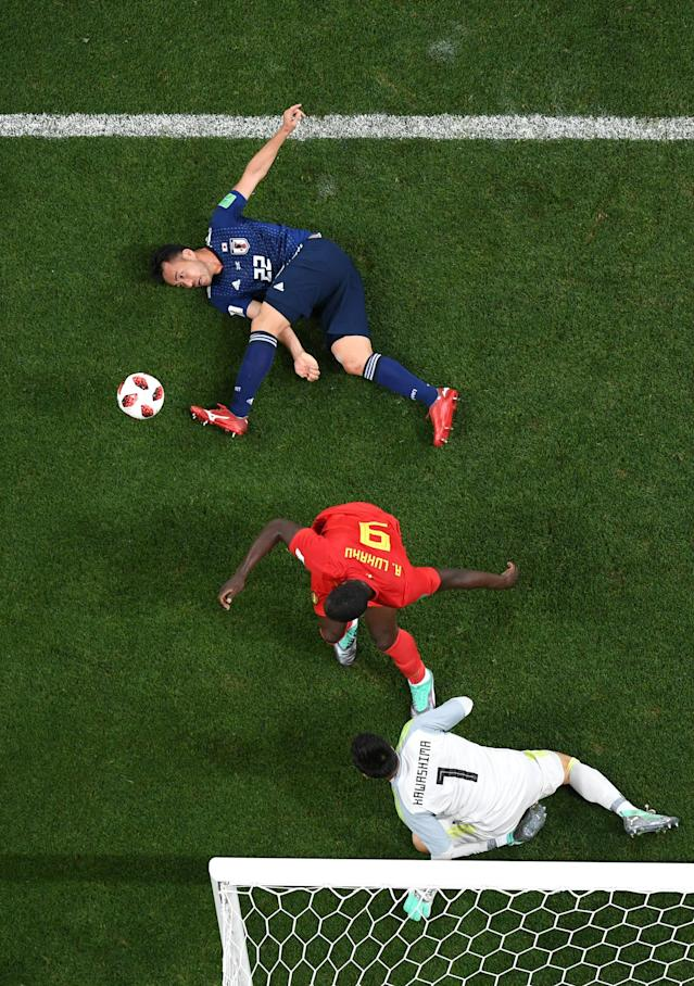 <p>Maya Yoshida of Japan challenge for the ball with Romelu Lukaku of Belgium during the 2018 FIFA World Cup Russia Round of 16 match between Belgium and Japan at Rostov Arena on July 2, 2018 in Rostov-on-Don, Russia. (Photo by Shaun Botterill/Getty Images) </p>