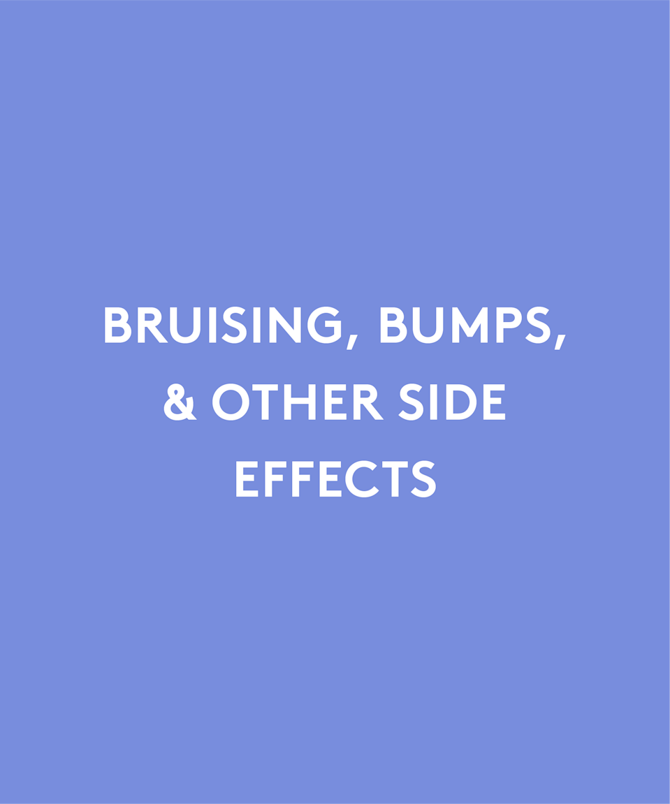 """<p>At this point, you're probably well aware that bruising is common. Some say it can be reduced with oral arnica and bromelain, but prepare to ice the area in 10 minute sessions throughout the first 24 hours. You'll also want to avoid working out for least a day, because raising your heart rate could exacerbate bruising.</p><p>If a nasty bruise does appear, Dr. Grossman has patients come back to the office for a quick ultrasound or laser treatment to help it disappear faster. Something called a """"bleb"""" can also happen, which looks a bit like a welt in the injection spot. This means the filler was applied too close to the surface of the skin and needs to be dissolved.</p><p>Swelling and bruising are common, but more serious results can occur down the road. """"Your filler could be fine then, six months later, your eyes are red, swollen, and tender,"""" Dr. Grossman says. She says that's either a result of biofilm, which is a kind of infection that forms around the filler, or a sensitivity reaction that is developing to the filler. """"That's treated with hyaluronate, antibiotics, and oral steroids,"""" she says.</p>"""