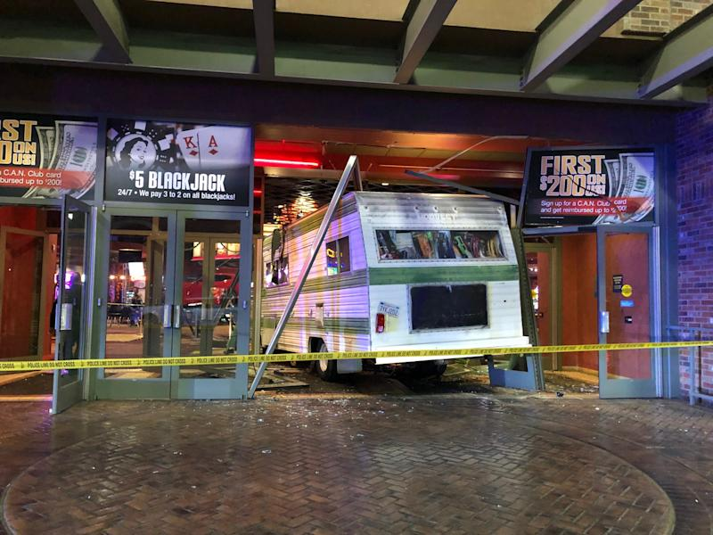 Police say awomanupset about getting kickedout of a Las Vegas casino drove her Winnebago motorhome through the front doors and ran over an elderlycustodian.