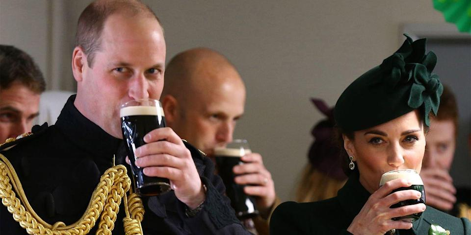 <p>The duke and duchess enjoy pints of Guinness after the St. Patrick's Day parade in London.</p>