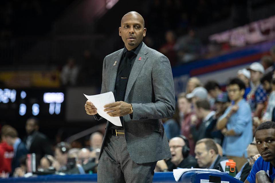 Memphis Tigers head coach Anfernee Penny Hardaway looks on during the American Athletic Conference college basketball game between the SMU Mustangs and the Memphis Tigers on February 25, 2020, at Moody Coliseum in Dallas, Texas. (Photo by Matthew Visinsky/Icon Sportswire via Getty Images)