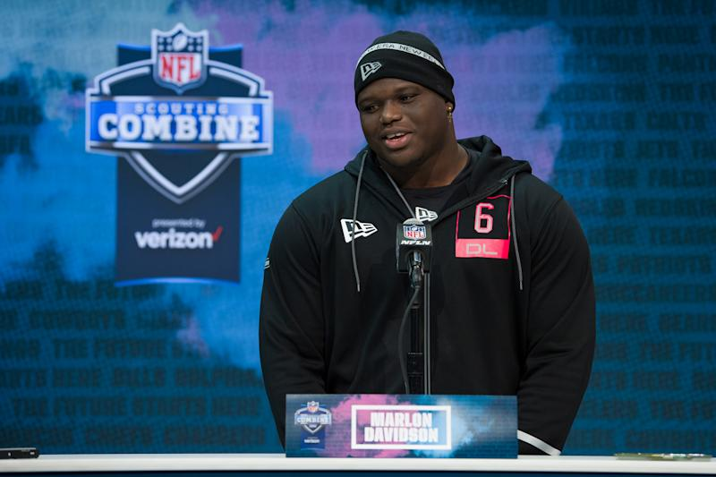INDIANAPOLIS, IN - FEBRUARY 27: Auburn defensive lineman Marlon Davidson answers questions from the media during the NFL Scouting Combine on February 27, 2020 at the Indiana Convention Center in Indianapolis, IN. (Photo by Zach Bolinger/Icon Sportswire via Getty Images)