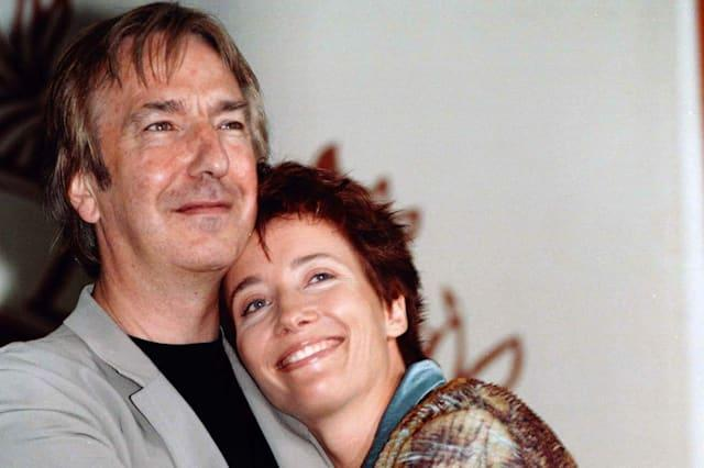 "British actor Alan Rickman (L) embraces actress Emma Thompson during a photo call at the 54th Venice Film Festival, August 28. Rickman makes his debut as a director in the human drama "" The Winter Guest"", starring Oscar-winner Emma Thompson, one of 18 films showing at the Venice Film Festival.ITALY FILM FESTIVAL"