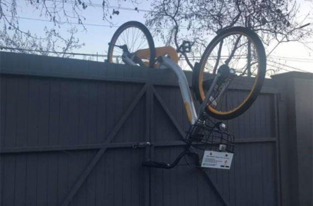A bike was dumped on an Ascot Vale garage roof. Picture: Christine Dahan/Facebook