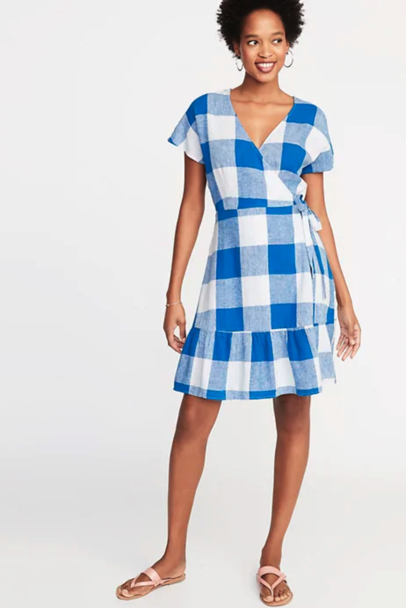 Wrap-Front Gingham Dress. (Photo: Old Navy)
