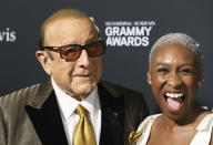 Clive Davis, left, and Cynthia Erivo arrive at the Pre-Grammy Gala And Salute To Industry Icons at the Beverly Hilton Hotel on Saturday, Jan. 25, 2020, in Beverly Hills, Calif. (Photo by Mark Von Holden/Invision/AP)