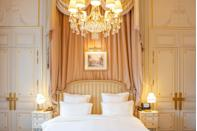 """<p>As soon as you step through the revolving doors of <a href=""""https://www.ritzparis.com/en-GB"""" rel=""""nofollow noopener"""" target=""""_blank"""" data-ylk=""""slk:the Ritz Paris"""" class=""""link rapid-noclick-resp"""">the Ritz Paris</a> on the alluring Place Vendôme, you step into history. A timeless emblem of luxury since its opening in 1898, the Ritz has witnessed some of the most beautiful love stories, from kings and queens to prominent artists and designers. In the 142 rooms and suites, you'll find marble bathrooms, Louis XV furnishings and chandeliers combined with delicate pastel hues. For added delight, sip a cocktail at the famous Bar Hemingway, indulge yourself at the new Comptoir by Pastry Chef François Perret, or relax at the spa after enjoying high tea.</p>"""