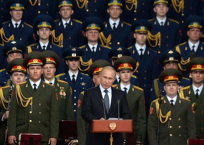Russian President Vladimir Putin delivers a speech at the opening of the Army-2015 international military forum in Kubinka, outside Moscow, on June 16, 2015 (AFP Photo/Vasily Maximov)