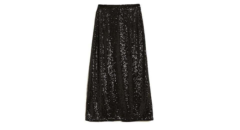 Sequin Midi Straight Skirt