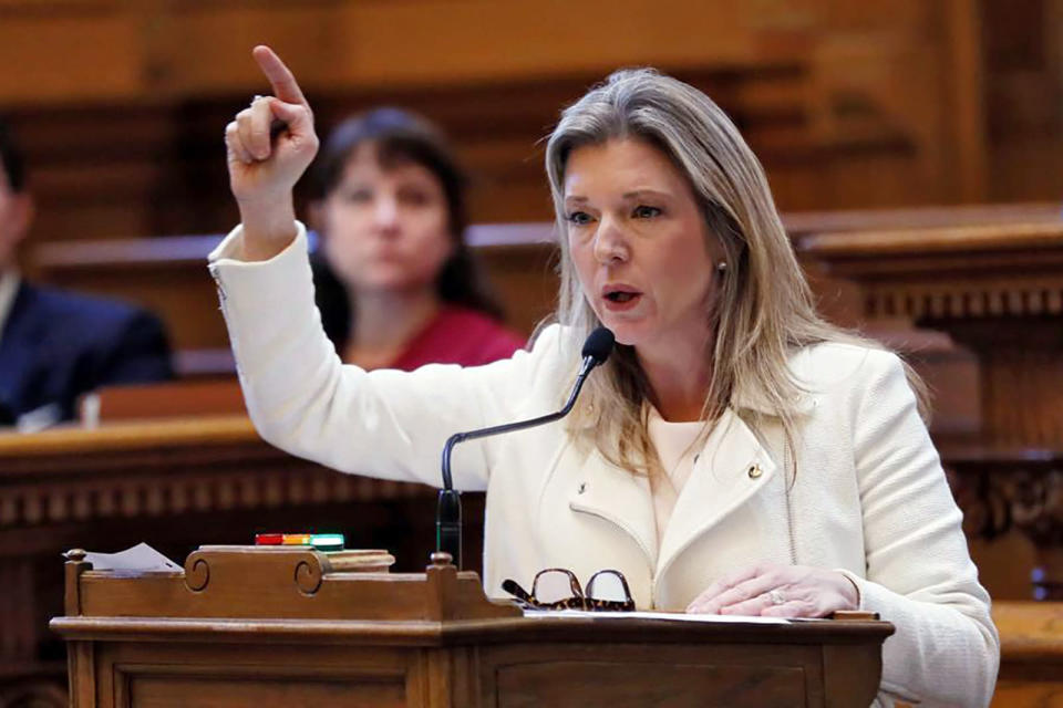 FILE - In this April 2, 2019, file photo, Democratic state Sen. Jen Jordan speaks against a bill in Atlanta, that would outlaw most abortions in Georgia during a speech that won her national notice. Boosted by significant electoral victories in the 2020 election, a near-win of the governor's office in 2018 and rapidly changing state demographics, seven sitting Democratic lawmakers have declared candidacies for one of Georgia's eight statewide offices — a full nine months away from the 2022 qualifying deadline. Jordan is running for attorney general. (Bob Andres/Atlanta Journal-Constitution via AP, File)