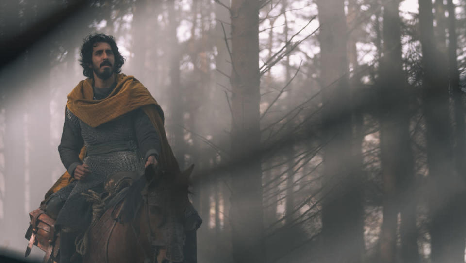 Dev Patel riding a horse in the Green Knight