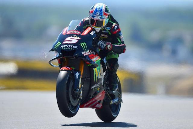 Frenchman Johann Zarco on his way to securing pole position for the Le Mans Moto GP on Sunday (AFP Photo/JEAN-FRANCOIS MONIER )