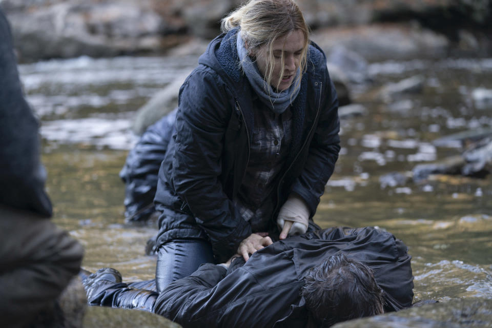 "This image released by HBO shows Kate Winslet in a scene from ""Mare of Easttown,"" debuting on April 18. (HBO via AP)"
