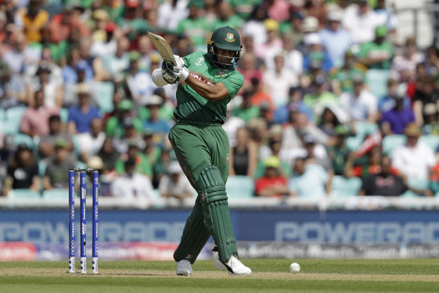 Bangladesh's Shakib Al Hasan hits a shot during the Cricket World Cup match between South Africa and Bangladesh at the Oval in London, Sunday, June 2, 2019. (AP Photo/Matt Dunham)
