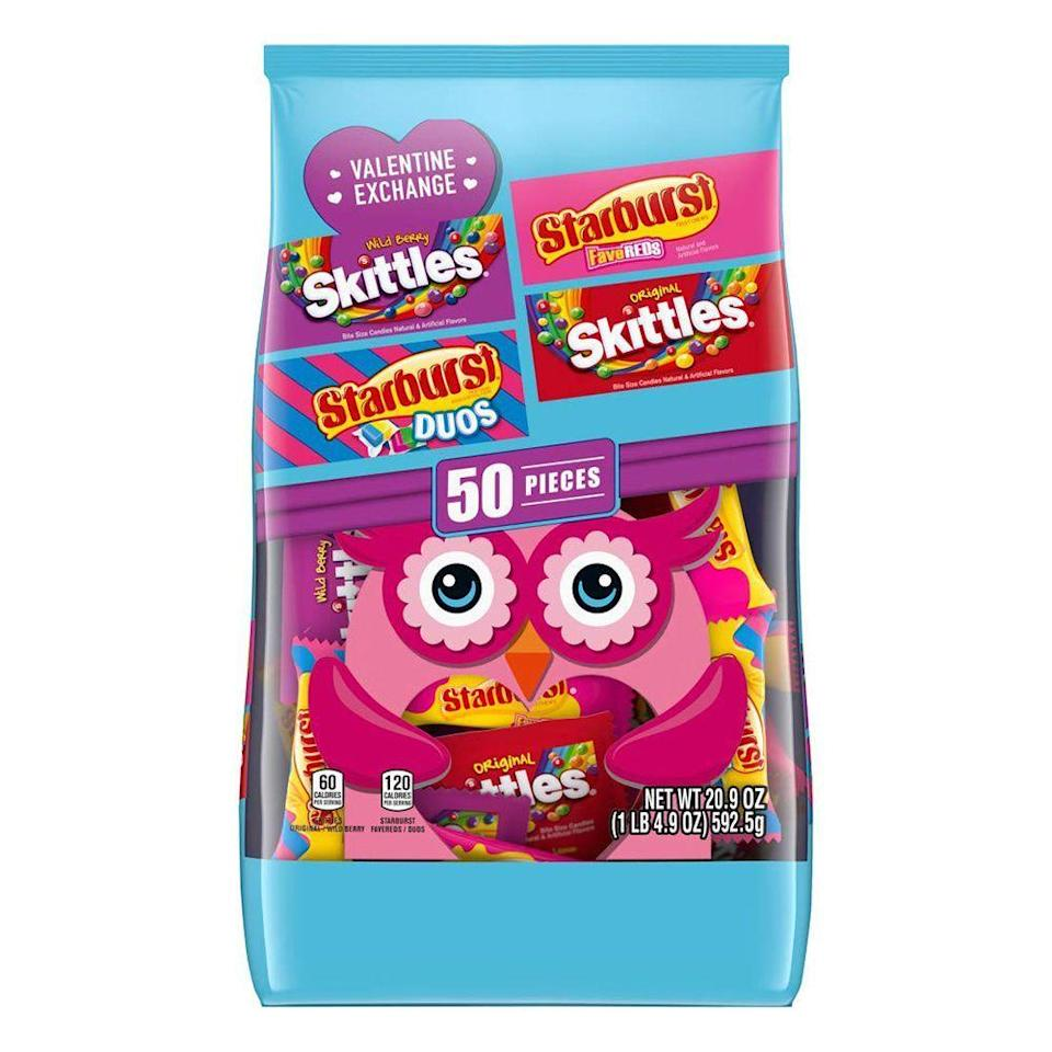 """<p><strong>Skittles</strong></p><p>amazon.com</p><p><strong>$8.99</strong></p><p><a href=""""https://www.amazon.com/dp/B07YXHYYVZ?tag=syn-yahoo-20&ascsubtag=%5Bartid%7C2089.g.904%5Bsrc%7Cyahoo-us"""" rel=""""nofollow noopener"""" target=""""_blank"""" data-ylk=""""slk:Shop Now"""" class=""""link rapid-noclick-resp"""">Shop Now</a></p><p>Indecisive? Scoop up this 50-piece variety pack of Valentine's Day candy favorites, including Skittles and Starburst picks.</p>"""