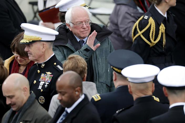 <p>Sen. Bernie Sanders (D-VT) arrives on the West Front of the U.S. Capitol on January 20, 2017 in Washington, DC. (Photo: Chip Somodevilla/Getty Images) </p>