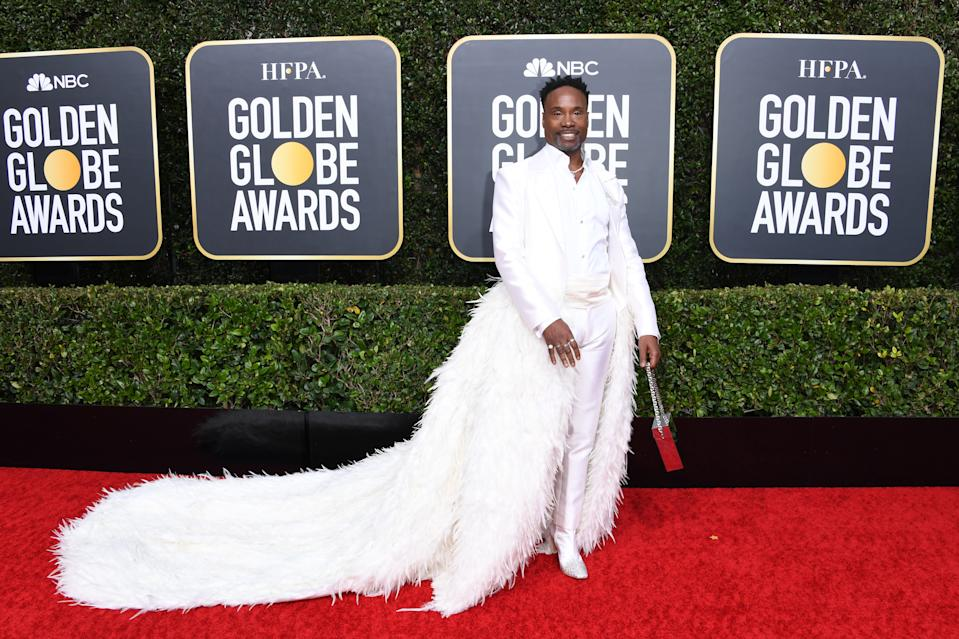 "The ""Pose"" star and Golden Globe nominee showed off his custom feathered look by Alex Vinash that took three months to create. (Photo by Jon Kopaloff/Getty Images)"