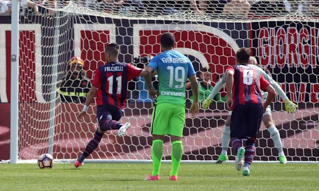 """<span class=""""element-image__caption"""">Crotone's Diego Falcinelli, left, scores from the penalty spot during the impressive victory over Internazionale.</span> <span class=""""element-image__credit"""">Photograph: Albano Angilletta/AP</span>"""