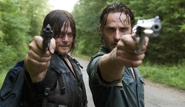 Norman Reedus as Daryl Dixon and Andrew Lincoln as Rick Grimes in 'The Walking Dead' (Photo: AMC)