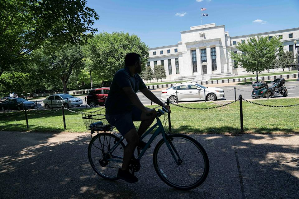 Photo taken on June 16, 2021 shows the U.S. Federal Reserve in Washington, D.C., the United States. The U.S. Federal Reserve on Wednesday kept its benchmark interest rates unchanged at the record-low level of near zero, as the economic recovery continues amid growing concerns over inflation surge. (Photo by Liu Jie/Xinhua via Getty Images)