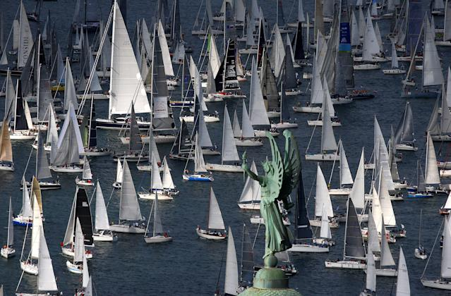 Sailing boats gather at the start of the Barcolana regatta in front of Trieste harbour, Italy October 8, 2017. REUTERS/Stefano Rellandini