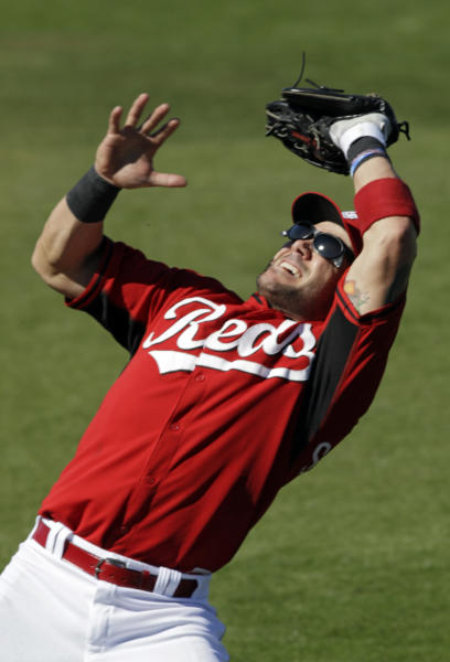 Cincinnati Reds second baseman Skip Schumaker fights the sun making a catch on a fly ball by Chicago Cubs' Welington Castillo in the fifth inning of a spring training exhibition baseball game Saturday, March 8, 2014, in Goodyear, Ariz. (AP Photo/Mark Duncan)