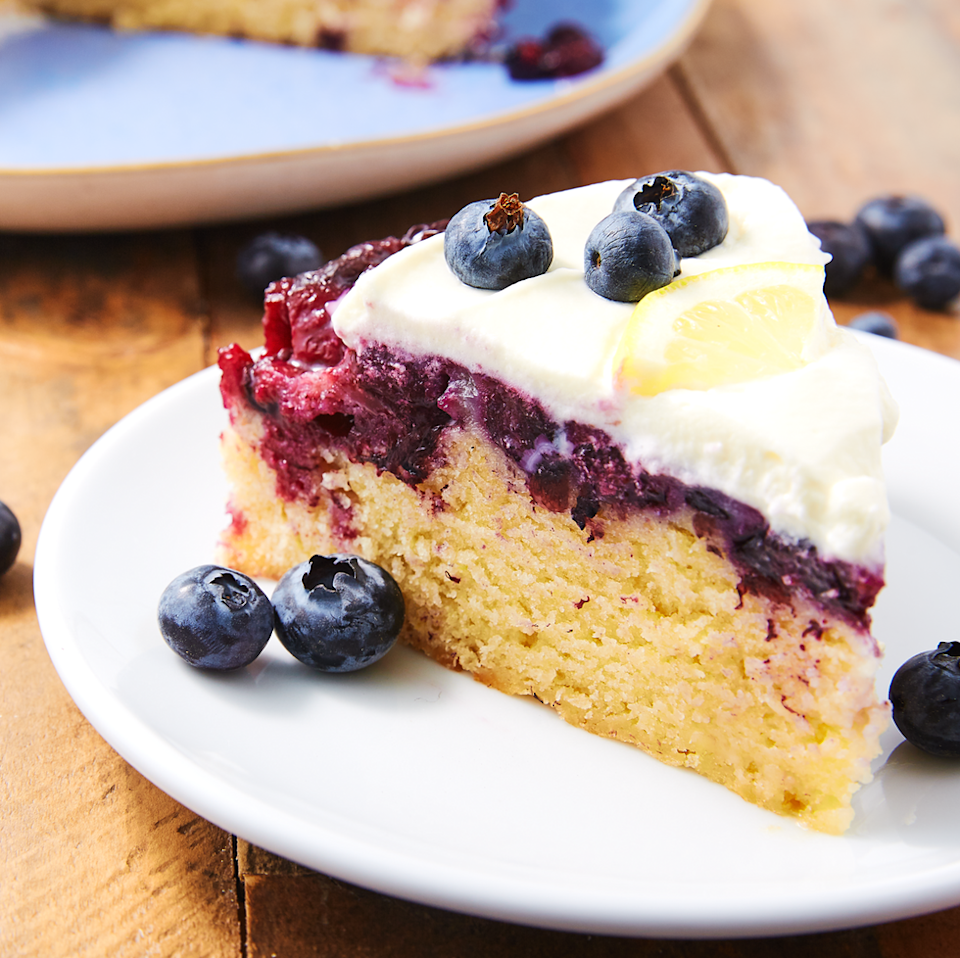 """<p>We love a good <a href=""""https://www.delish.com/uk/cooking/recipes/a32312209/easy-pineapple-upside-down-cake-recipe/"""" rel=""""nofollow noopener"""" target=""""_blank"""" data-ylk=""""slk:upside-down cake"""" class=""""link rapid-noclick-resp"""">upside-down cake</a>, and this our favourite one yet. The blueberries get super-juicy as they bake—it's the perfect representation of spring!</p><p>Get the <a href=""""https://www.delish.com/uk/cooking/recipes/a35403482/blueberry-lemon-upside-down-cake-recipe/"""" rel=""""nofollow noopener"""" target=""""_blank"""" data-ylk=""""slk:Blueberry-Lemon Upside-Down Cake"""" class=""""link rapid-noclick-resp"""">Blueberry-Lemon Upside-Down Cake</a> recipe.</p>"""